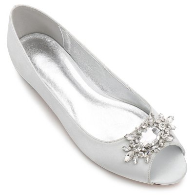 Buy SILVER 43 Women's Shoes Satin Spring Summer Comfort Ballerina Wedding Shoes Flat Heel Peep Toe Rhinestone Sparkling Glitter Flower For Wedding for $37.99 in GearBest store