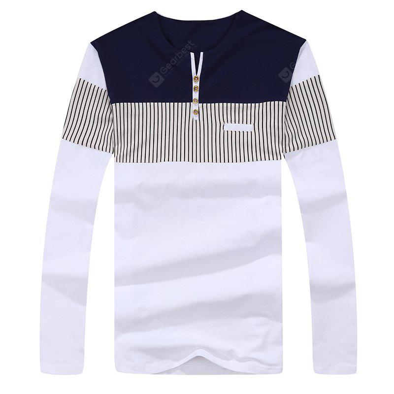 Herrenmode Stripes Hit Farbe Langarm Slim T-Shirt
