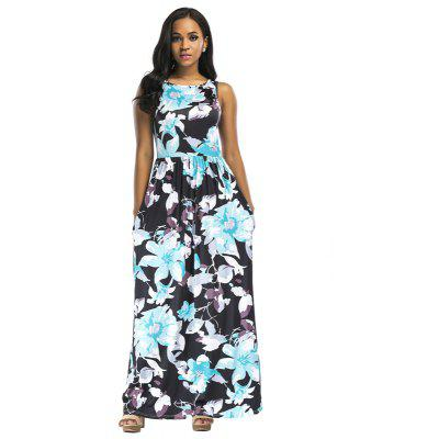 Buy LIGHT BLUE L Women's Polyester Material O Neck Floral Waisted Design Sleeveless Maxi Shift Dress for $25.12 in GearBest store