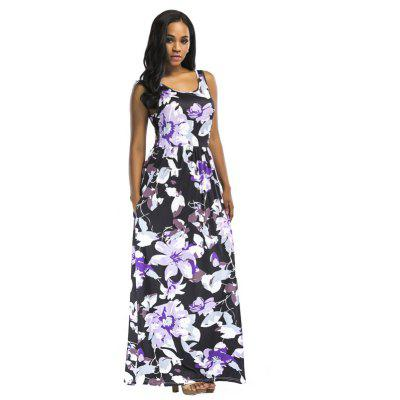 Buy PURPLE M Women's Polyester Material O Neck Floral Waisted Design Sleeveless Maxi Shift Dress for $25.12 in GearBest store