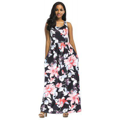 Buy RED L Women's Polyester Material O Neck Floral Waisted Design Sleeveless Maxi Shift Dress for $25.12 in GearBest store