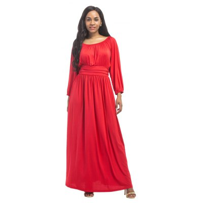 Frauen hohe Taille O Hals Langarm Maxi Langes Kleid