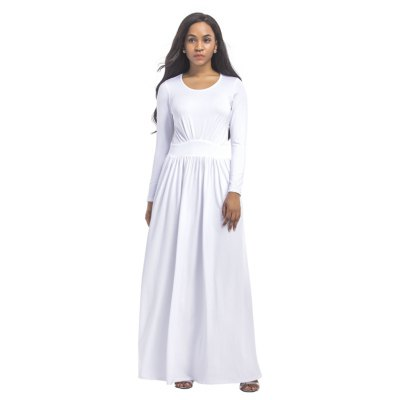 Damen O Neck Langarm Maxi Langes Kleid