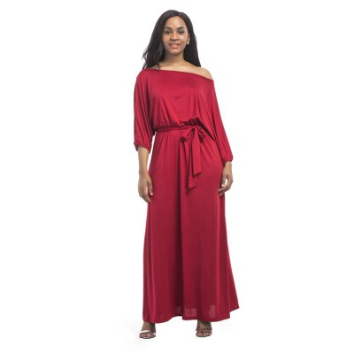 Womens  Long Dress Slash Neck Plus Size MaxiPlus Size Dresses<br>Womens  Long Dress Slash Neck Plus Size Maxi<br><br>Dresses Length: Ankle-Length<br>Elasticity: Super-elastic<br>Fabric Type: Broadcloth<br>Material: Spandex, Polyester<br>Neckline: Round Collar<br>Package Contents: 1 x Dress<br>Pattern Type: Solid<br>Season: Fall<br>Silhouette: Straight<br>Sleeve Length: 3/4 Length Sleeves<br>Style: Casual<br>Weight: 0.2800kg<br>With Belt: Yes