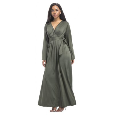 Womens Maxi Long Dress Solid Long Sleeve V Neck DressPlus Size Dresses<br>Womens Maxi Long Dress Solid Long Sleeve V Neck Dress<br><br>Dresses Length: Ankle-Length<br>Elasticity: Super-elastic<br>Fabric Type: Broadcloth<br>Material: Spandex, Polyester<br>Neckline: V-Neck<br>Package Contents: 1 x Dress<br>Pattern Type: Solid<br>Season: Fall<br>Silhouette: Straight<br>Sleeve Length: Long Sleeves<br>Style: Casual<br>Weight: 0.2800kg<br>With Belt: Yes