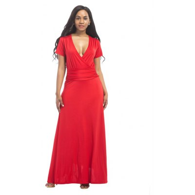 Buy RED L Women's Sexy Maxi Long Dress V Neck Solid Pleated for $25.78 in GearBest store
