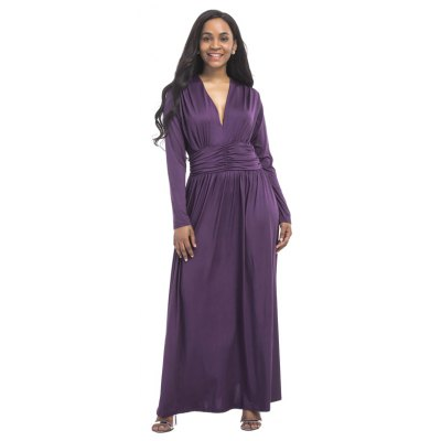 Womens Long Dress V Neck Long Sleeve Solid MaxiPlus Size Dresses<br>Womens Long Dress V Neck Long Sleeve Solid Maxi<br><br>Dresses Length: Ankle-Length<br>Elasticity: Super-elastic<br>Fabric Type: Broadcloth<br>Material: Spandex, Polyester<br>Neckline: V-Neck<br>Package Contents: 1 x Dress<br>Pattern Type: Solid<br>Season: Fall<br>Silhouette: Straight<br>Sleeve Length: Long Sleeves<br>Style: Casual<br>Weight: 0.2500kg<br>With Belt: No