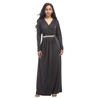 Buy BLACK 2XL Women's Maxi Long V Neck Long Sleeve Pleated Dress for $26.73 in GearBest store