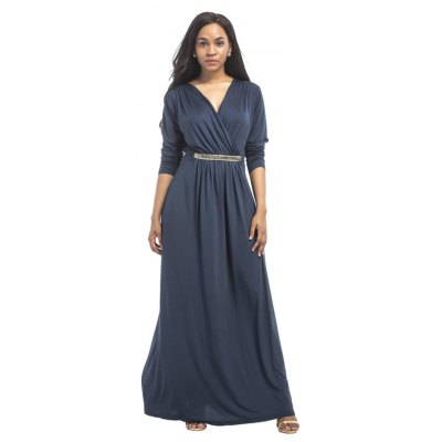 Buy DEEP BLUE L Women's Maxi Long V Neck Long Sleeve Pleated Dress for $26.73 in GearBest store