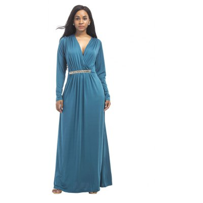 Buy LAKE BLUE M Women's Maxi Long V Neck Long Sleeve Pleated Dress for $26.73 in GearBest store