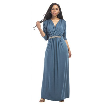 Buy DENIM BLUE L Women's Maxi Long V Neck Long Sleeve Pleated Dress for $26.73 in GearBest store