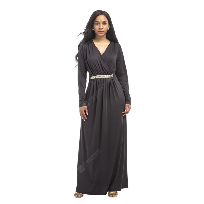 BLACK L Women's Maxi Long V Neck Long Sleeve Pleated Dress