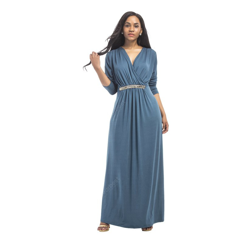 DENIM BLUE M Women's Maxi Long V Neck Long Sleeve Pleated Dress
