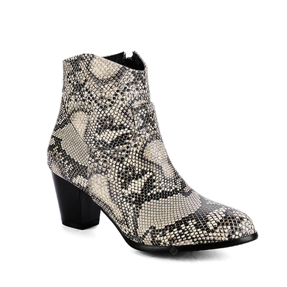 New Fashion Snakeskin Pattern Thick with Side Zipper Boots