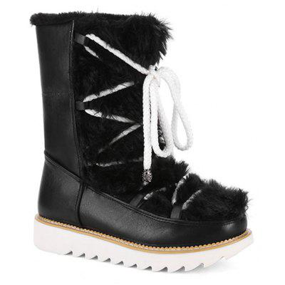 New Front Tie Flat Heel Round Top High Floor Frosted Short Cylinder Female Snow Boots