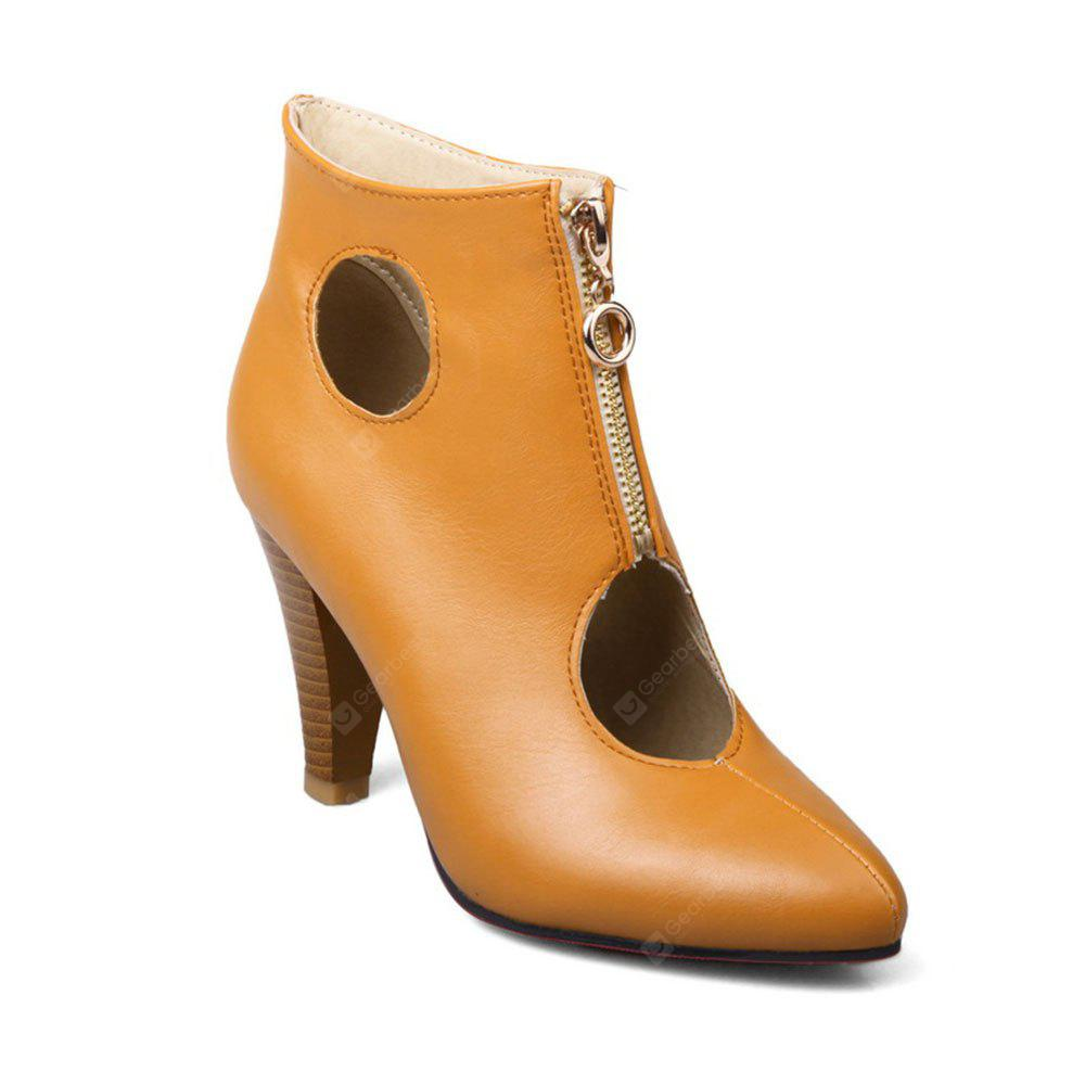 The New Hole Female Cool Boots Zipper Fashion Sexy High-Heeled Pointed After Casual Office Boots
