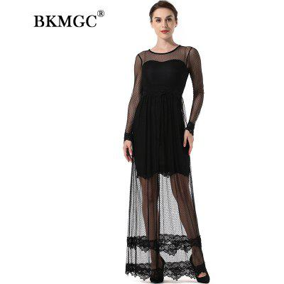 Splicing Lace Hollowed-Out Round Lace DressWomens Dresses<br>Splicing Lace Hollowed-Out Round Lace Dress<br><br>Dresses Length: Ankle-Length<br>Elasticity: Micro-elastic<br>Embellishment: Lace<br>Fabric Type: Worsted<br>Material: Polyester<br>Neckline: Round Collar<br>Package Contents: 1 x Dress<br>Pattern Type: Patchwork<br>Season: Fall, Winter<br>Silhouette: Straight<br>Sleeve Length: Long Sleeves<br>Style: Sexy &amp; Club<br>Waist: Natural<br>Weight: 0.2500kg<br>With Belt: No