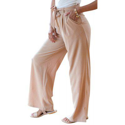Buy KHAKI XL Europe and The United States Straight-Legged High Waist Trousers Solid Color Wide-leg Casual Pants Women's Belts for $29.00 in GearBest store