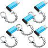 5 Pack TYPE-C To Micro USB Convert Connector with Keychain - BLUE