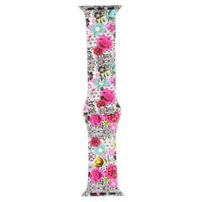 Silicone Material Colorful Floral Pattern Watchband for iWatch 38mm