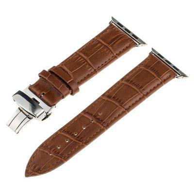 Buy LIGHT BROWN 42mm Genuine Leather Replacement Strap Wrist Bands with Butterfly Buckle for iWatch Series 3 2 1 for $8.42 in GearBest store