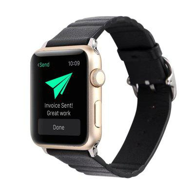 Buy BLACK 42mm Genuine Leather Straps with Space Silver Steel Adapters and Buckle for iWatch Sport Edition Series 3 2 1 for $11.27 in GearBest store