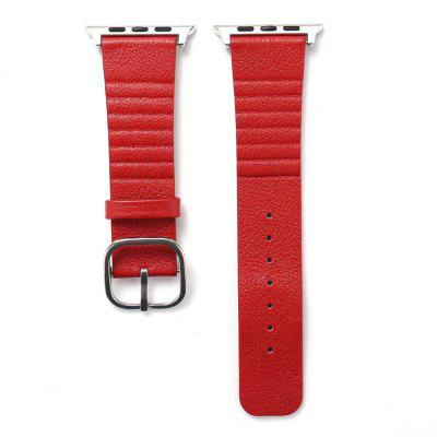 Buy RED 42mm Genuine Leather Straps with Space Silver Steel Adapters and Buckle for iWatch Sport Edition Series 3 2 1 for $11.27 in GearBest store