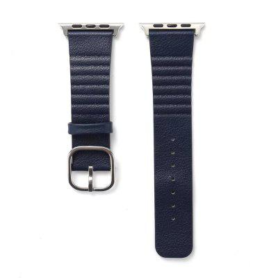 Buy BLUE 42mm Genuine Leather Straps with Space Silver Steel Adapters and Buckle for iWatch Sport Edition Series 3 2 1 for $11.27 in GearBest store