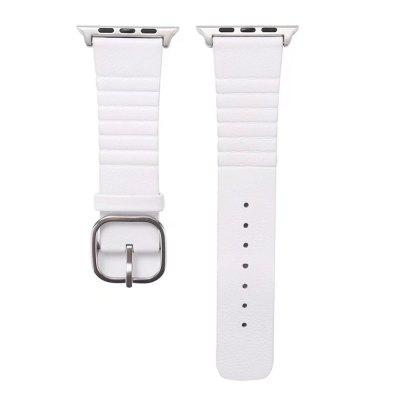 Buy WHITE 42mm Genuine Leather Straps with Space Silver Steel Adapters and Buckle for iWatch Sport Edition Series 3 2 1 for $11.27 in GearBest store