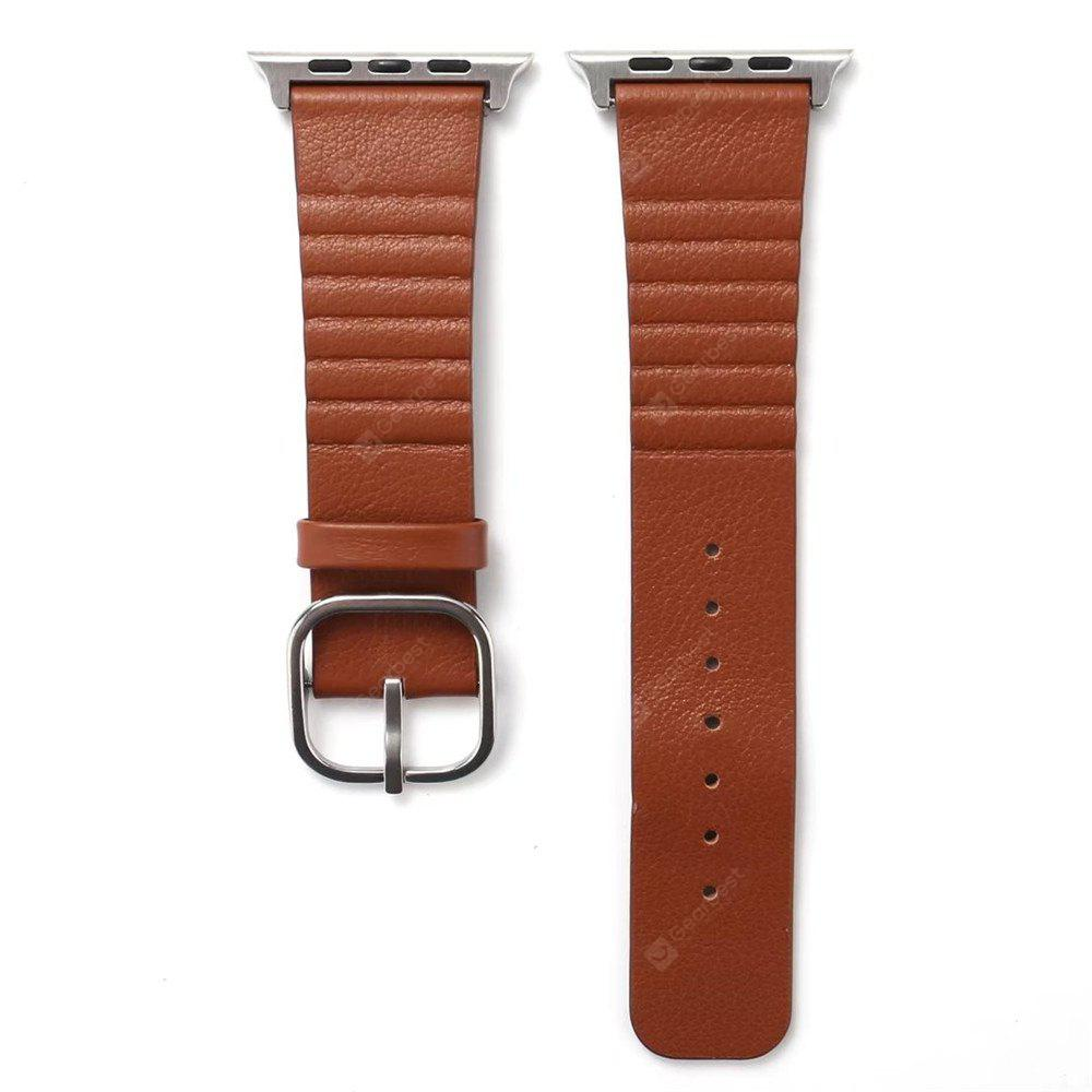 BROWN 42mm Genuine Leather Straps with Space Silver Steel Adapters and Buckle for iWatch Sport Edition Series 3 2 1