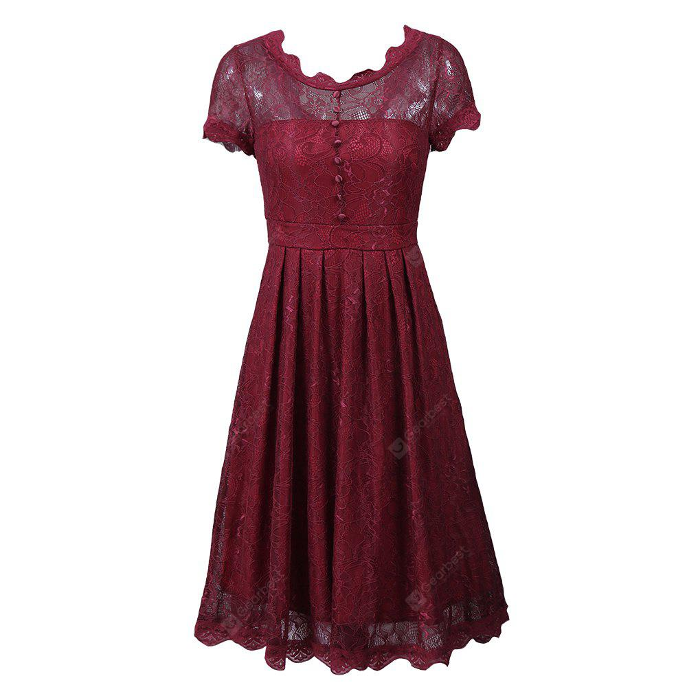 High Quality Vintage Tunic Sexy Lace Female Robe Casual  Rockabilly Short Cap Sleeve V-Back Swing Summer A Line Dresses