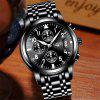 LIGE 9825 4832 Business Calendar Waterproof Men Steel Band Quartz Watch with Box - BLACK