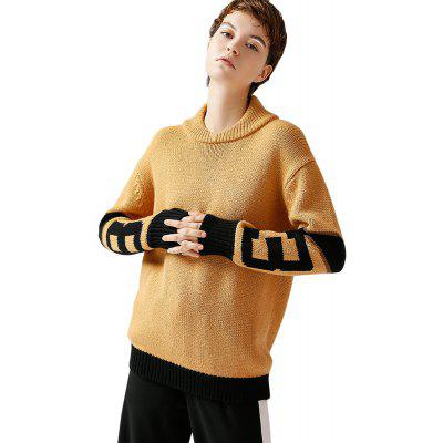Buy YELLOW L TOYOUTH Casual Contrast Color Splice Sweater Long Sleeve Knitted Pullover Female for $63.69 in GearBest store