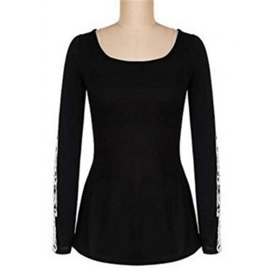 Mid Long Lace Long Sleeve T-ShirtTees<br>Mid Long Lace Long Sleeve T-Shirt<br><br>Collar: Round Neck<br>Elasticity: Elastic<br>Embellishment: Lace<br>Fabric Type: Jersey<br>Material: Cotton<br>Package Contents: 1 x T-Shirt<br>Pattern Type: Solid<br>Shirt Length: Regular<br>Sleeve Length: Full<br>Style: Casual<br>Weight: 0.2000kg