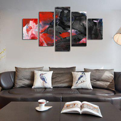 Buy COLORMIX QiaoJiaoHuanYuan No Frame Canvas Abstract Black And Red Matching Decorative Print 5PCS for $32.14 in GearBest store
