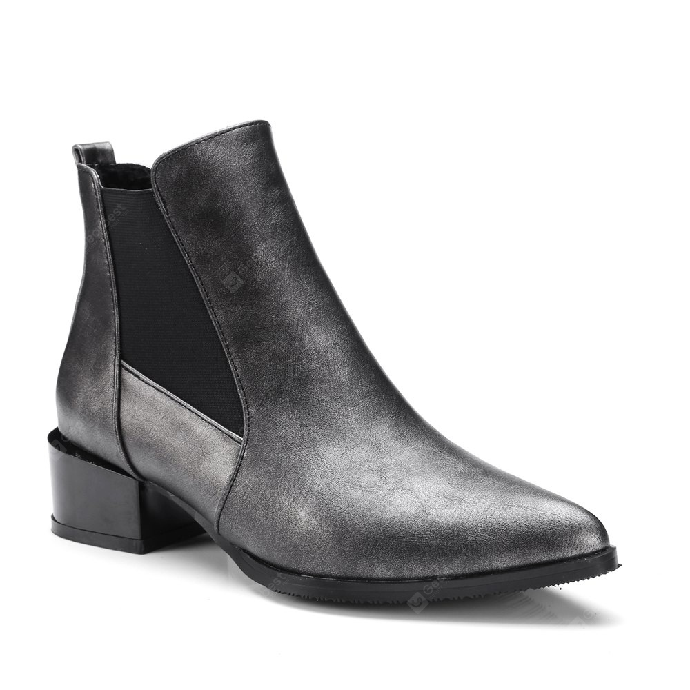 Fashion Low Square Heel All-match Patchwork Ankle Boots