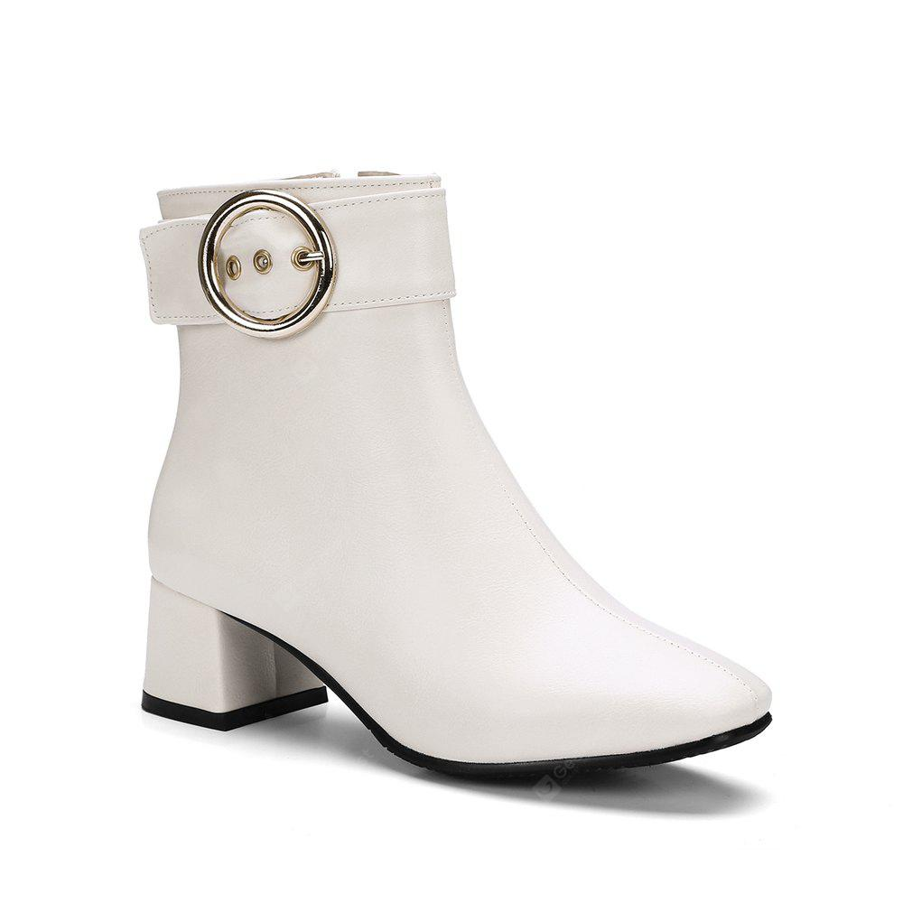Chic Solid Shiny Metal Circular Ring Ornament Women's Boots