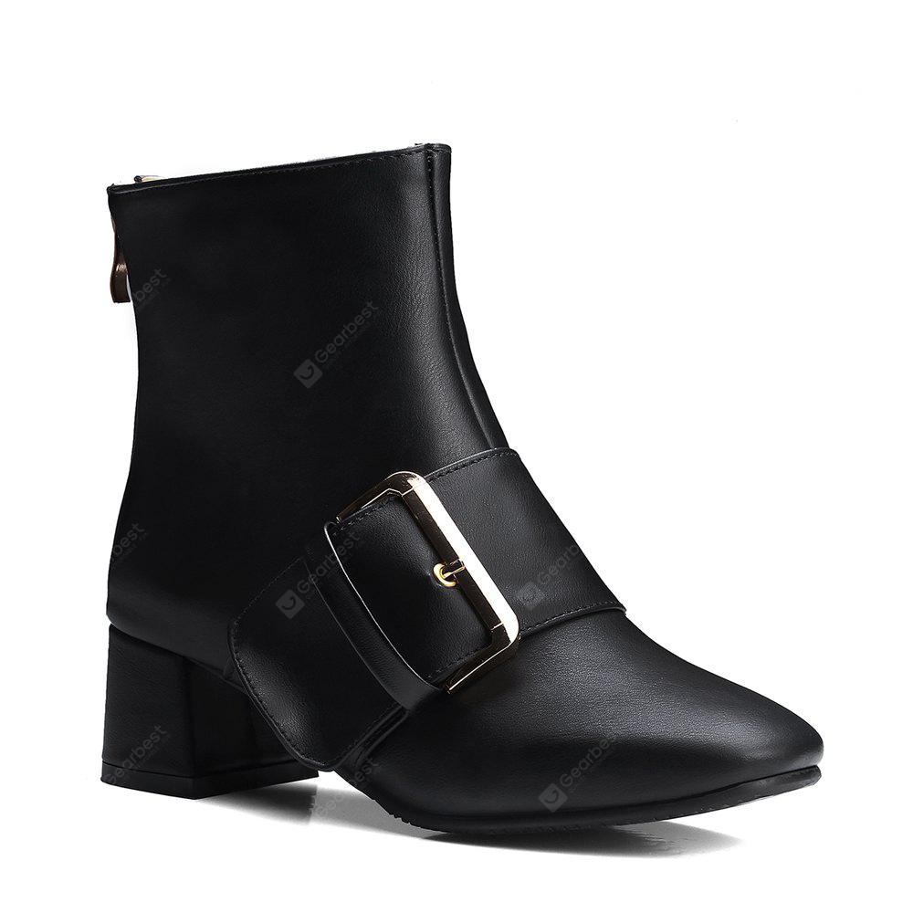 Women's Ankle Boots Square Thick Heel Solid Color Hasp Casual Shoes