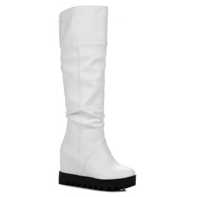 Women's Shoes Round Toe Stylish All-match Inner Increase Mid Calf Boots