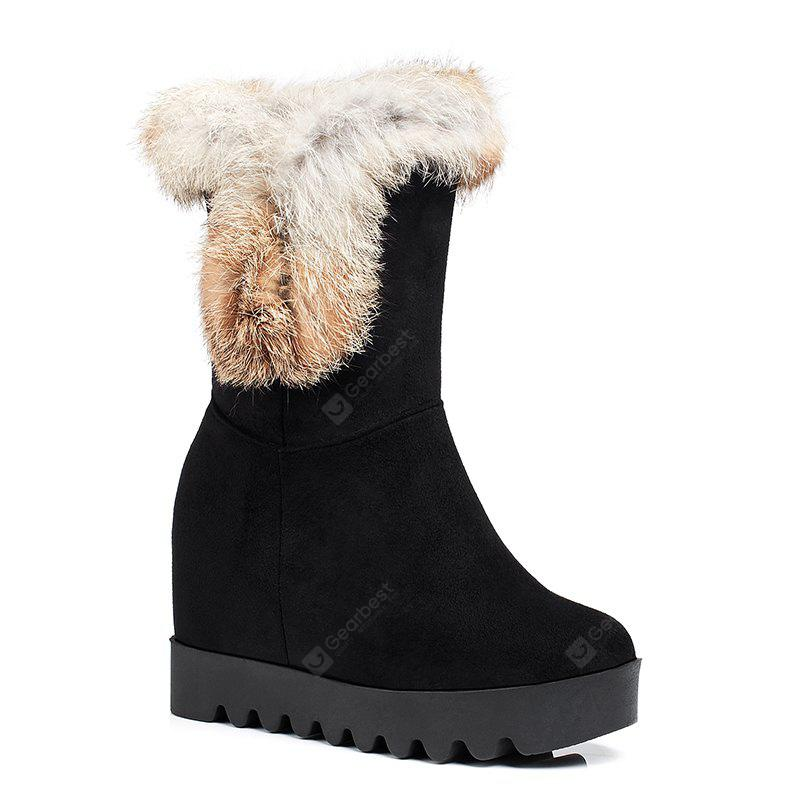 Women's Snow Boots Round Toe Fluffy Hair Ornament Thick Heel Warm Simple Shoes
