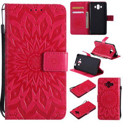 Sun Flower Printing Design Pu Leather Flip Wallet Lanyard Protective Case for Huawei Mate 10