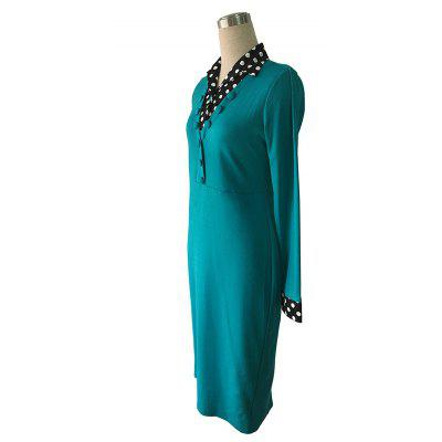Womens Wear Large Code V-Neck Long-Sleeve Point Stitching Self-Cultivation DressBodycon Dresses<br>Womens Wear Large Code V-Neck Long-Sleeve Point Stitching Self-Cultivation Dress<br><br>Dresses Length: Knee-Length<br>Elasticity: Micro-elastic<br>Fabric Type: Broadcloth<br>Material: Cotton, Polyester<br>Neckline: V-Neck<br>Occasion: Work, Office<br>Package Contents: 1xDress<br>Pattern Type: Patchwork<br>Season: Fall<br>Silhouette: Straight<br>Sleeve Length: Long Sleeves<br>Style: Work<br>Weight: 0.3500kg<br>With Belt: Yes