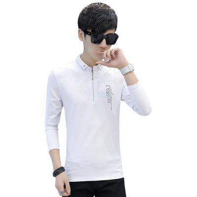 Buy WHITE M Men'S Fashion Printed Slim Long-Sleeved Personalized Zipper T-Shirt for $20.82 in GearBest store