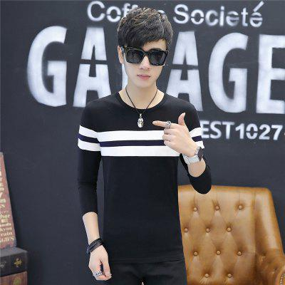 Mens Fashion Hit Color Stripes Slim Long-Sleeved T-ShirtMens T-shirts<br>Mens Fashion Hit Color Stripes Slim Long-Sleeved T-Shirt<br><br>Collar: Round Neck<br>Material: Cotton<br>Package Contents: 1 x T-Shirt<br>Pattern Type: Striped<br>Sleeve Length: Full<br>Style: Casual<br>Weight: 0.2000kg