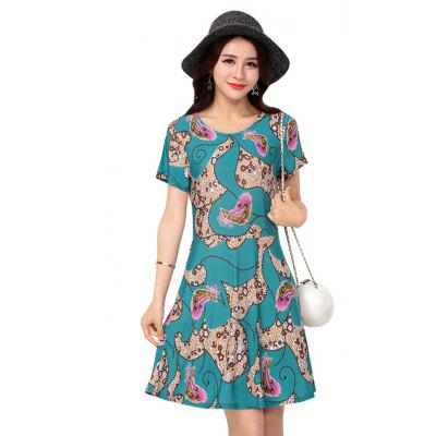 Damen Eis Seide Kurzarm Fashion Print Kleid