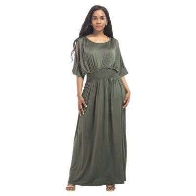 Buy ARMYGREEN M Women's Mesh Ruffle Patchwork Sexy Dress for $28.77 in GearBest store