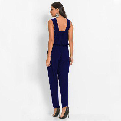 Womens Round  Neck Sleeveless Beading Patchwork Colorblock JumpsuitJumpsuits &amp; Rompers<br>Womens Round  Neck Sleeveless Beading Patchwork Colorblock Jumpsuit<br><br>Elasticity: Elastic<br>Fabric Type: Broadcloth<br>Fit Type: Regular<br>Material: Acetate<br>Package Contents: 1 x Jumpsuit<br>Package weight: 0.3500 kg<br>Pattern Type: Solid<br>Style: Fashion<br>With Belt: No
