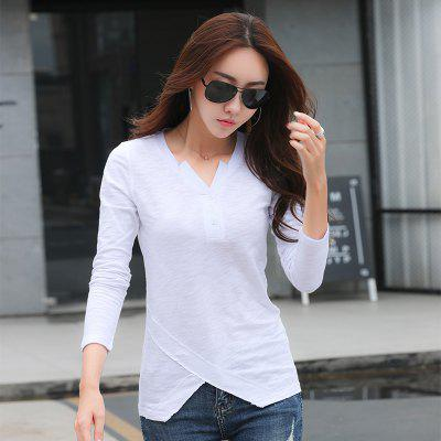 Womens V-Neck Fashion Buttons Cotton Slim Long-Sleeved Wild Casual T-ShirtTees<br>Womens V-Neck Fashion Buttons Cotton Slim Long-Sleeved Wild Casual T-Shirt<br><br>Collar: V-Neck<br>Elasticity: Micro-elastic<br>Fabric Type: Broadcloth<br>Material: Cotton<br>Package Contents: 1 x T-Shirt<br>Pattern Type: Solid<br>Shirt Length: Regular<br>Sleeve Length: Full<br>Style: Casual<br>Weight: 0.2000kg