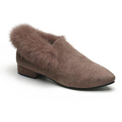 Buy KHAKI 35 Women Single Casual Sexy Feather Thick low Heel Roman Holiday Beach Shoes for $21.56 in GearBest store