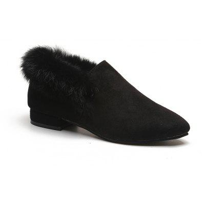 Buy BLACK 38 Women Single Casual Sexy Feather Thick low Heel Roman Holiday Beach Shoes for $21.56 in GearBest store